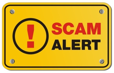 scam alert yellow sign - rectangle sign